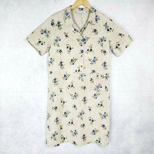 Match 100% Linen Floral Short Sleeve Long Dress